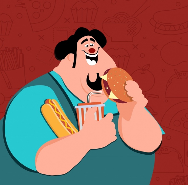 obese man drawing food backdrop colored cartoon