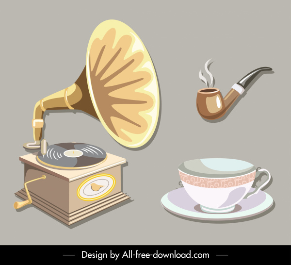 objects icons retro 3d speaker pipe cup sketch