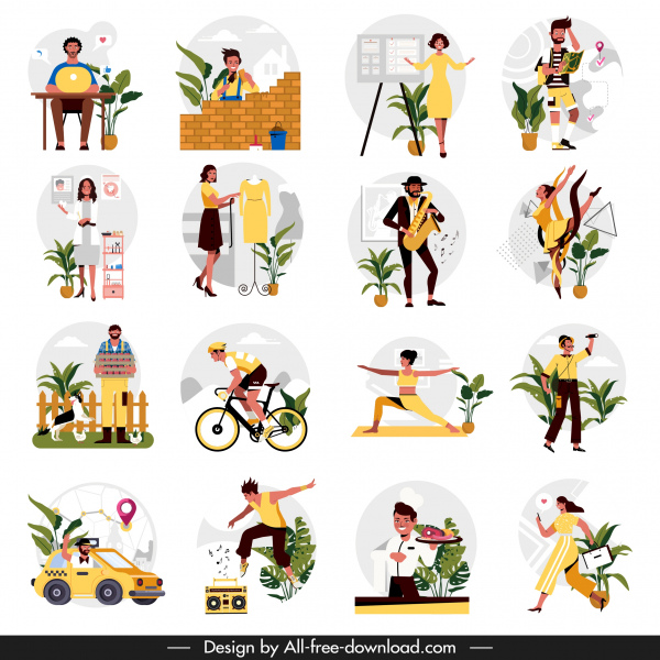 occupation icons human activities sketch cartoon characters