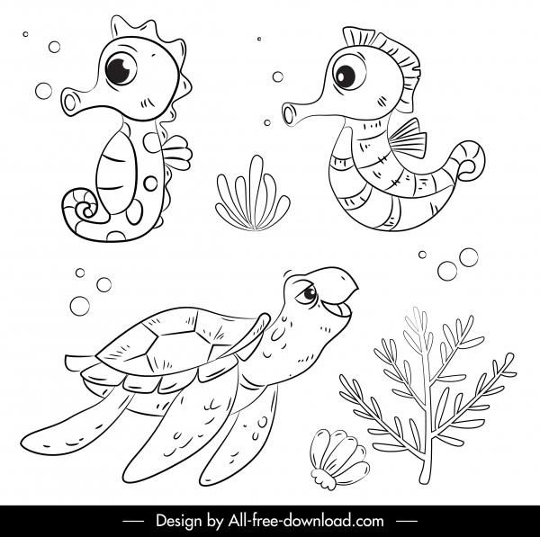 ocean animals icons seahorse turtle sketch handdrawn cartoon
