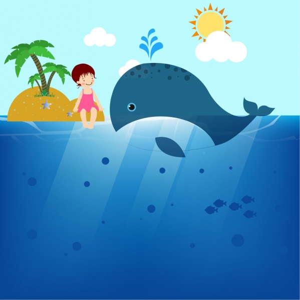 ocean background big whale little girl island icons