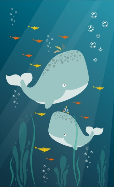 ocean background whales icons colorful cartoon design