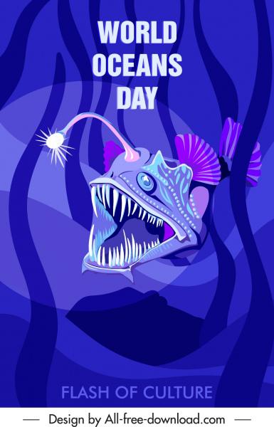 ocean day banner frightening odd fish sketch