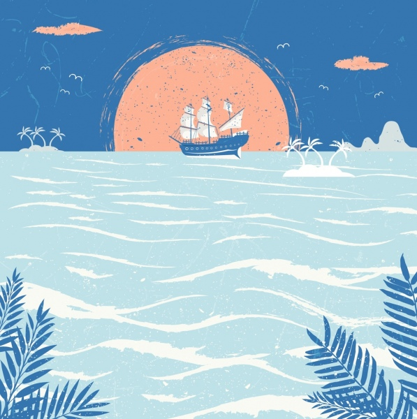 Ocean drawing sailboat sea sun icons retro design Free ...