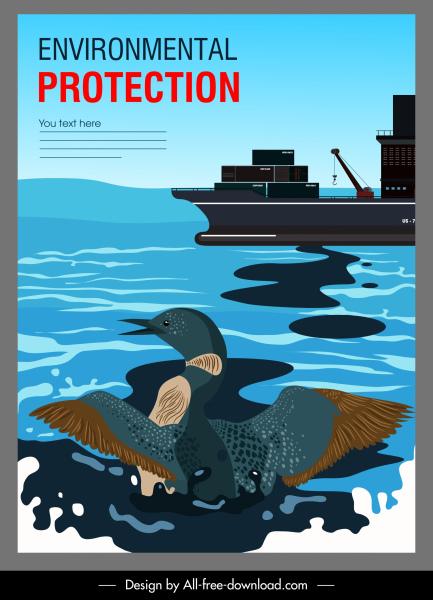 ocean environment banner oil spill sea contamination sketch