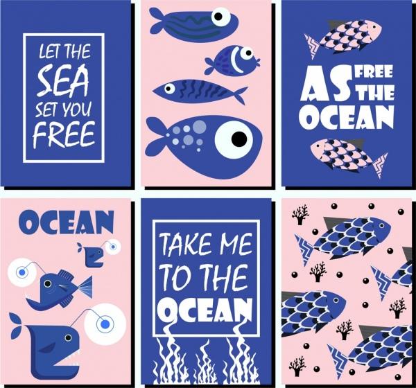 ocean protection banner sets classical blue design