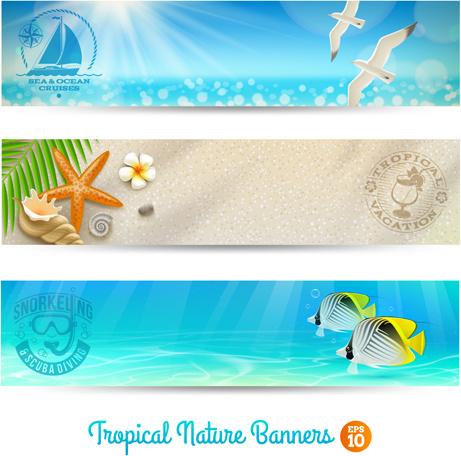 ocean with beach holiday banner vector