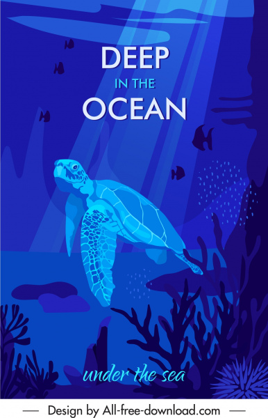 ocean world poster sea species dark blue design