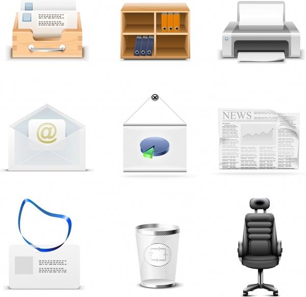 office design elements modern 3d symbols sketch