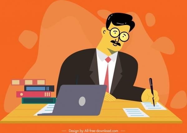 office man icon laptop desk decor cartoon sketch