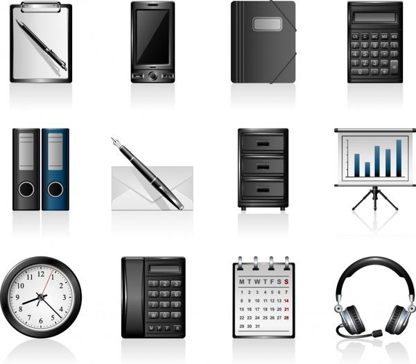 office tools icons shiny modern flat symbols sketch