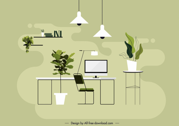 Office Space Background Colored Flat Sketch Modern Decor Free Vector In Adobe Illustrator Ai Ai Format Encapsulated Postscript Eps Eps Format Format For Free Download 2 51mb