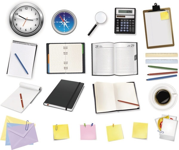 office supplies and stationery vector free vector in encapsulated