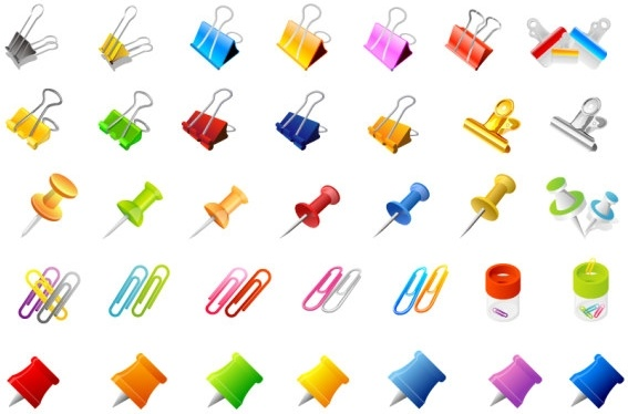 office supplies and the pins of the clip vector