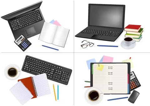 office devices icons modern 3d flat design