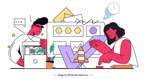 office work painting handdrawn cartoon sketch