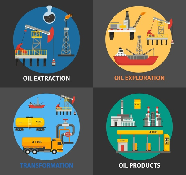 oil supply chain concept isolated with various processes free vector Funny Supply Chain oil supply chain concept isolated with various processes