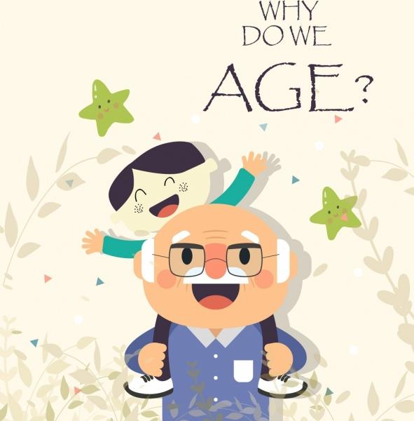 old age banner grandpa grandson icon colored cartoon