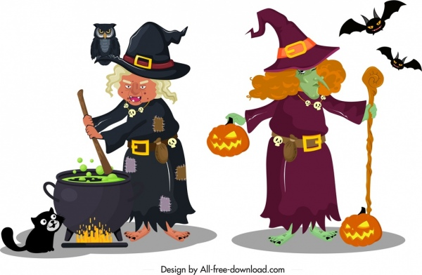 old horror witch icons colored cartoon character sketch