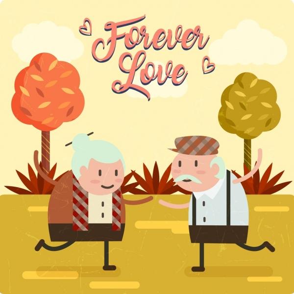 old love background cute aged couple retro design