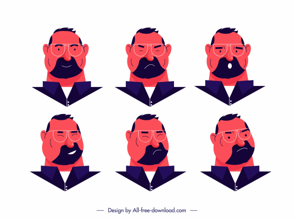 old man avatar icons cartoon character sketch