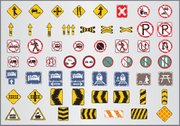 old traffic signs icon 05 vector
