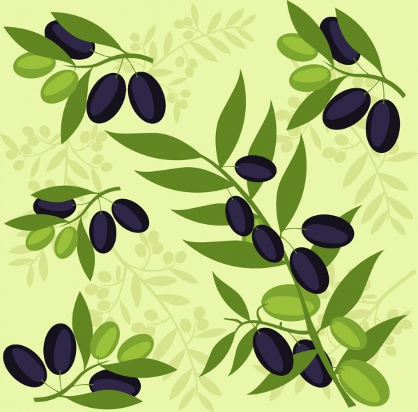 olive background green black fruits icons repeating decor