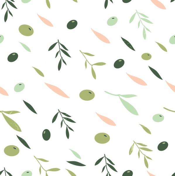 olive background multicolored flat decor fruit leaf icons