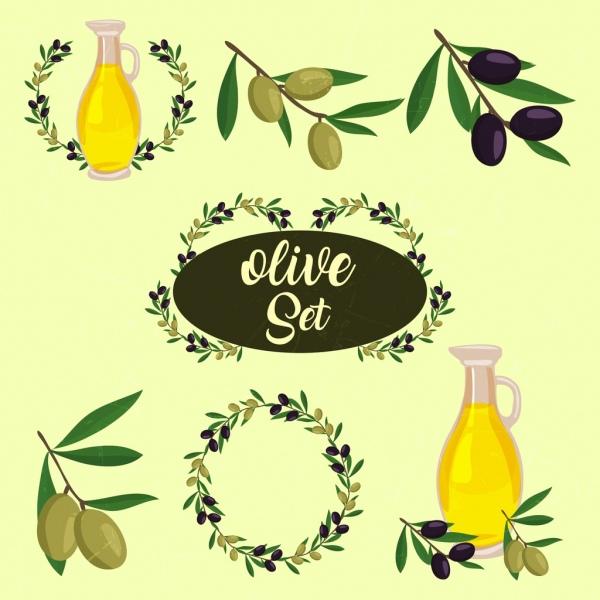 Olive Design Element Various Symbols Isolation Free Vector In Adobe