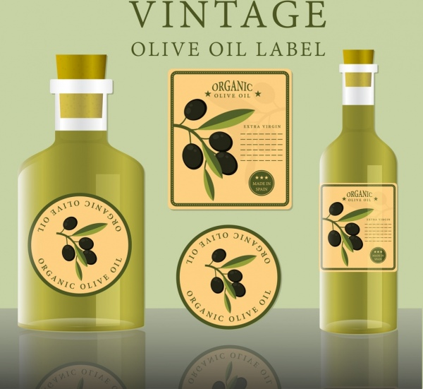 olive oil label design bottle icons various shapes