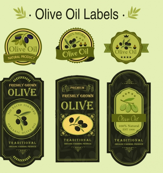 olive oil labels collection green flat shapes isolation