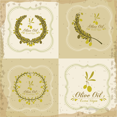 olive oil retro frame vector set