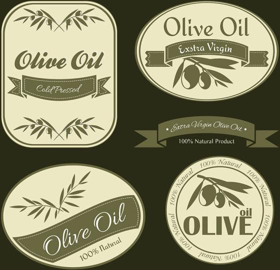 olive oil vintage labels vector