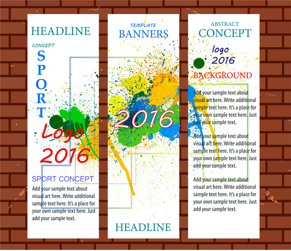 olympic 2016 banners templates with vertical colorful style free