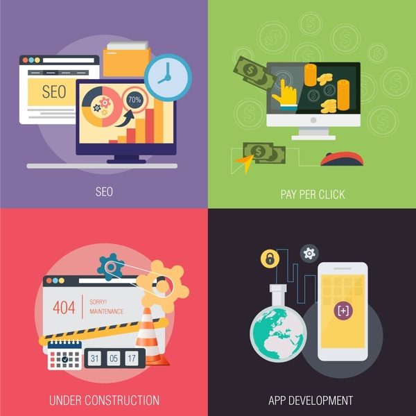 online business applications isolated with colored flat style