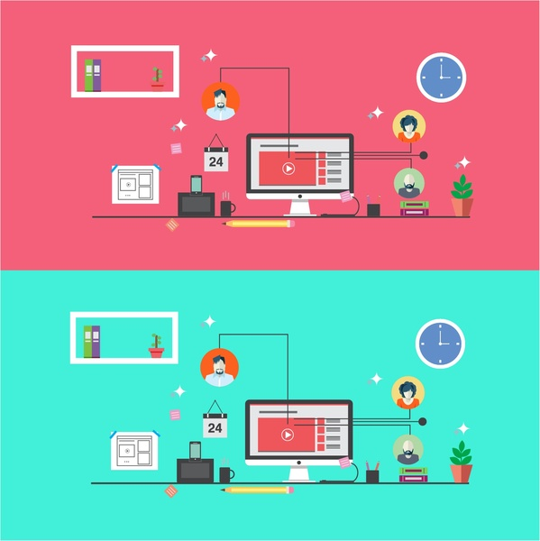 online communication design on various colored backgrounds