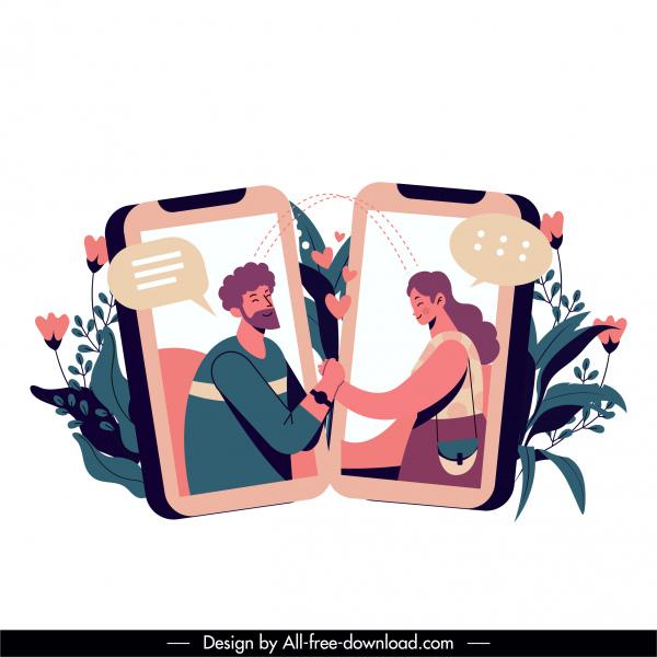 online dating design elements phones couple communication sketch
