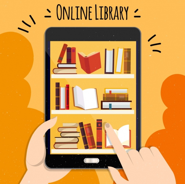 online library advertisement smartphone bookshelf hands icons