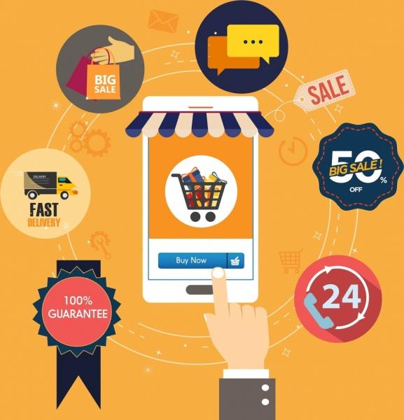 online sales design elements smartphone hand ui icons