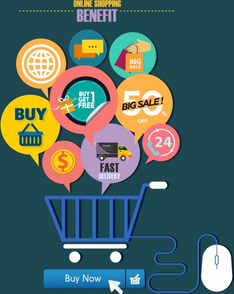 online shopping benefit concept speech baubles trolley icons