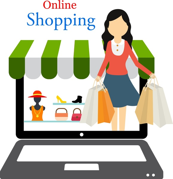 online shopping concept woman shopping in laptop design