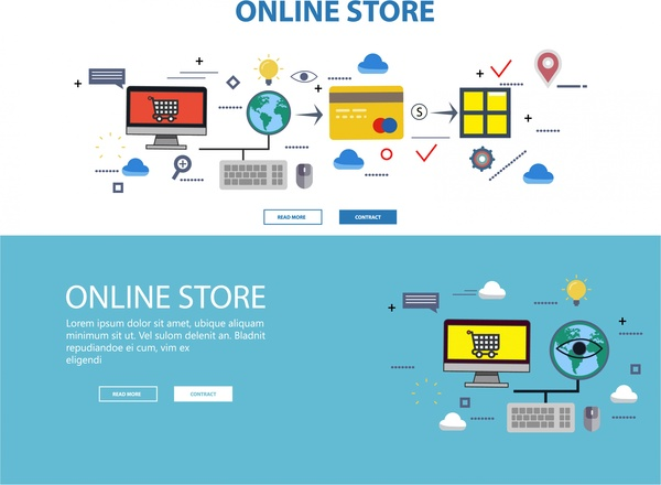 online store web design with infographic illustration
