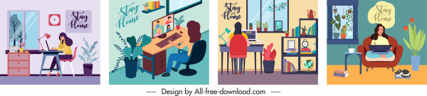 online work banners colorful cartoon sketch