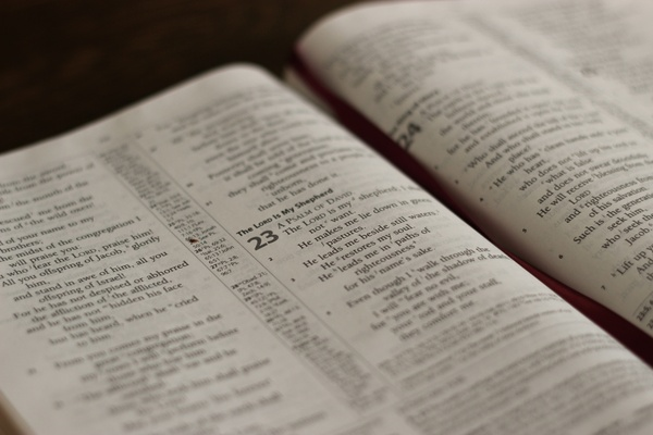 open bible to psalm 23