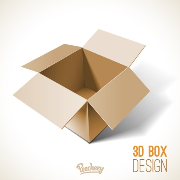 Opened Cardboard Box Template