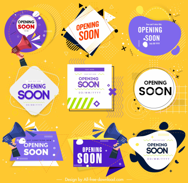 opening tags templates modern colored shapes sketch