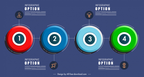 option infographic template colorful modern circles decor
