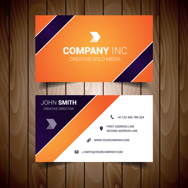 Orange and dark blue corporate business card free vector in adobe orange and dark blue corporate business card reheart Gallery