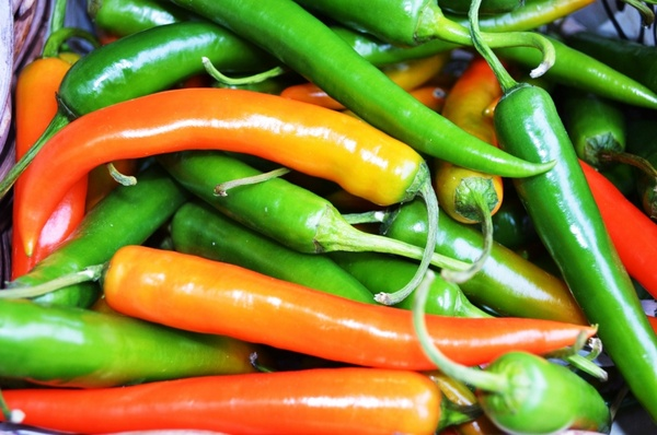 orange and green peppers chili
