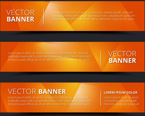 orange background horizontal banner vector sets
